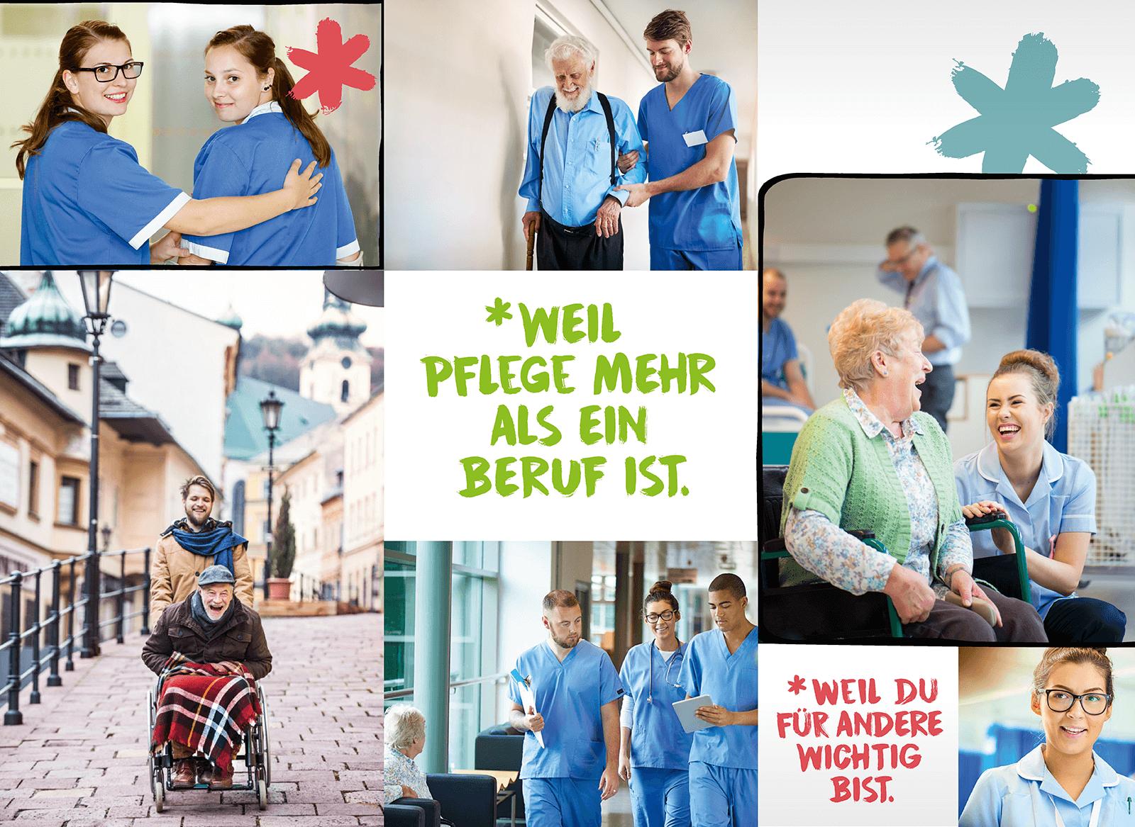 Weil Pflege mehr als ein Beruf ist - Weil du für andere wichtig bist. Eine Collage aus 6 Fotos zeigt junge Pflegekräfte in ihrer Ausbildung und in ihrem beruflichen Alltag in Krankenhaus und mit Patienten.