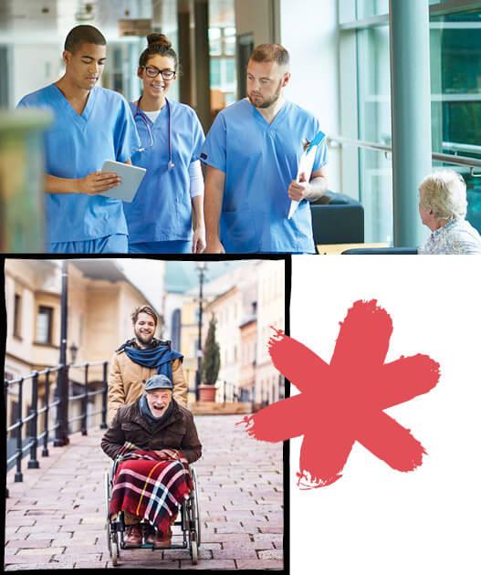 Eine Collage aus 2 Fotos zeigt junge Pflegekräfte in ihrer Ausbildung und in ihrem beruflichen Alltag in Krankenhaus und mit Patienten.